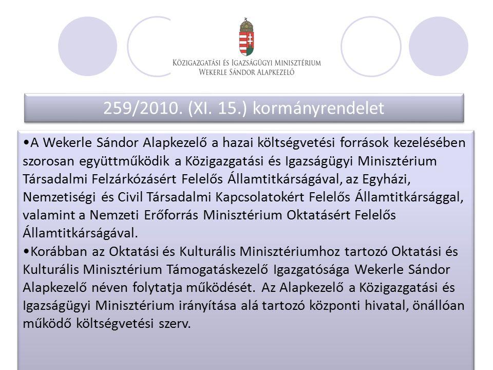259/2010. (XI. 15.) kormányrendelet 259/2010. (XI.