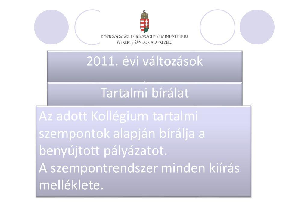 2011. évi változások. 2011. évi változások. Tartalmi bírálat.