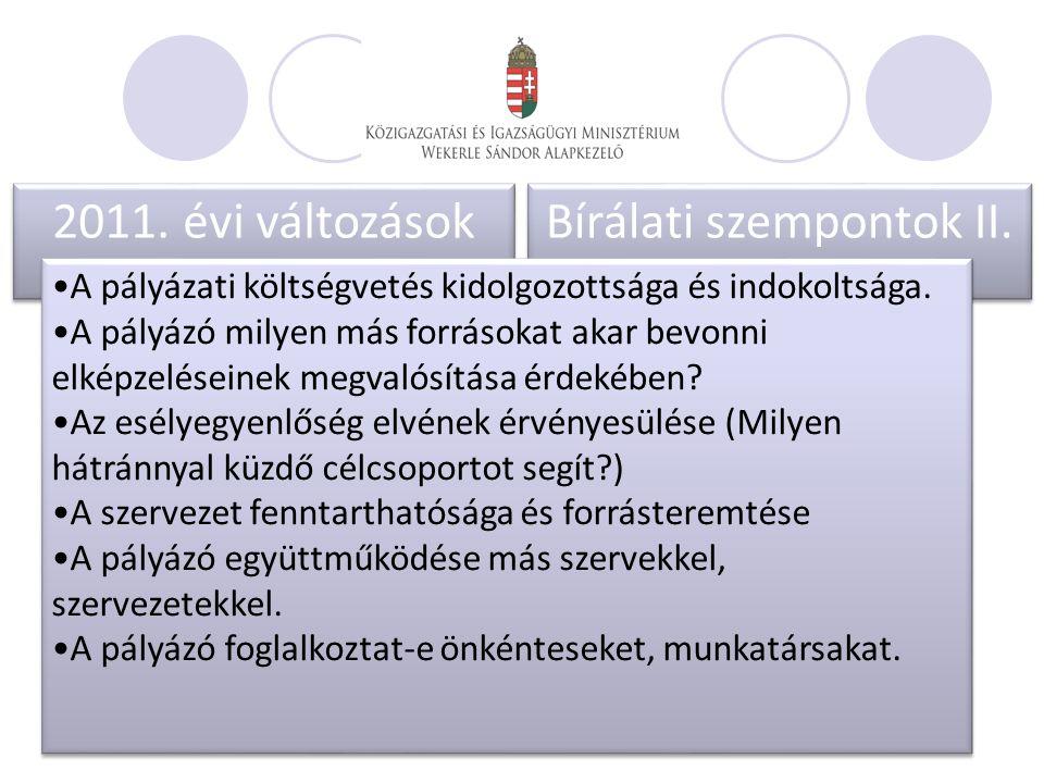 2011. évi változások. 2011. évi változások. Bírálati szempontok II..