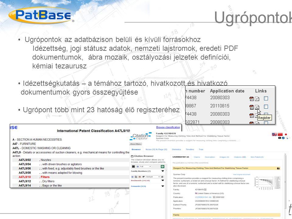 Ugrópontok az adatbázison belüli és kívüli forrásokhoz Idézettség, jogi státusz adatok, nemzeti lajstromok, eredeti PDF dokumentumok, ábra mozaik, osztályozási jelzetek definíciói, kémiai tezaurusz Idézettségkutatás – a témához tartozó, hivatkozott és hivatkozó dokumentumok gyors összegyűjtése Ugrópont több mint 23 hatóság élő regiszteréhez Ugrópontok