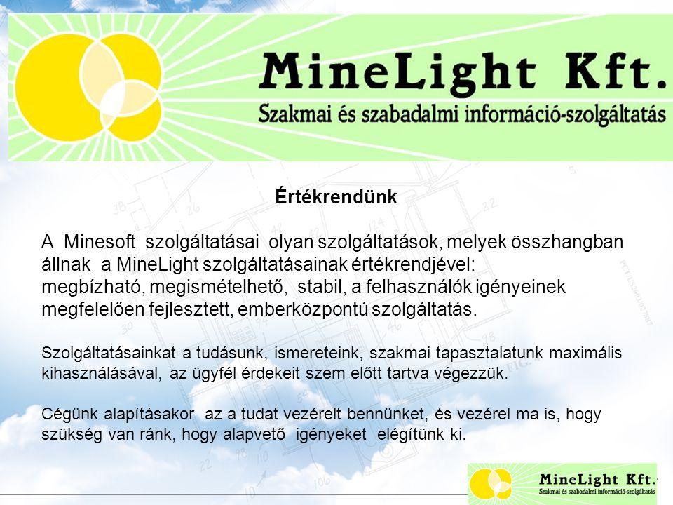 Értékrendünk A Minesoft szolgáltatásai olyan szolgáltatások, melyek összhangban állnak a MineLight szolgáltatásainak értékrendjével: megbízható, megismételhető, stabil, a felhasználók igényeinek megfelelően fejlesztett, emberközpontú szolgáltatás.