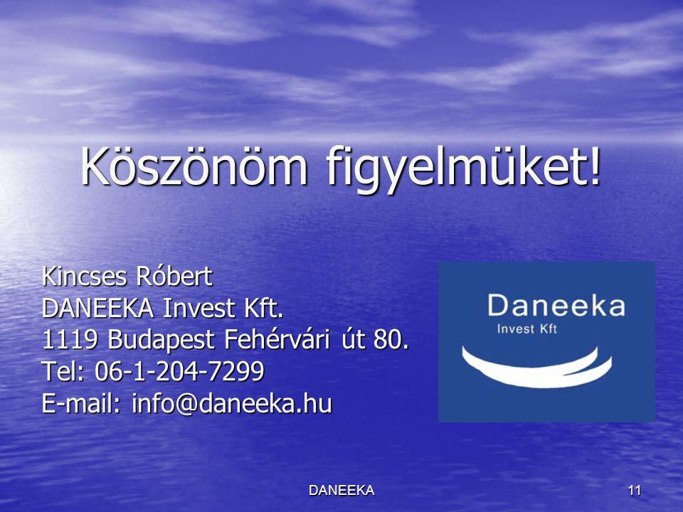 DANEEKA11 Köszönöm figyelmüket! Kincses Róbert DANEEKA Invest Kft. 1119 Budapest Fehérvári út 80. Tel: 06-1-204-7299 E-mail: info@daneeka.hu