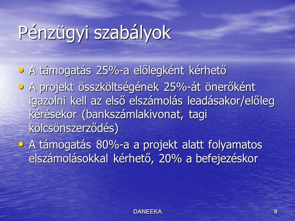 DANEEKA9 Pénzügyi szabályok A támogatás 25%-a előlegként kérhető A támogatás 25%-a előlegként kérhető A projekt összköltségének 25%-át önerőként igazolni kell az első elszámolás leadásakor/előleg kérésekor (bankszámlakivonat, tagi kölcsönszerződés) A projekt összköltségének 25%-át önerőként igazolni kell az első elszámolás leadásakor/előleg kérésekor (bankszámlakivonat, tagi kölcsönszerződés) A támogatás 80%-a a projekt alatt folyamatos elszámolásokkal kérhető, 20% a befejezéskor A támogatás 80%-a a projekt alatt folyamatos elszámolásokkal kérhető, 20% a befejezéskor