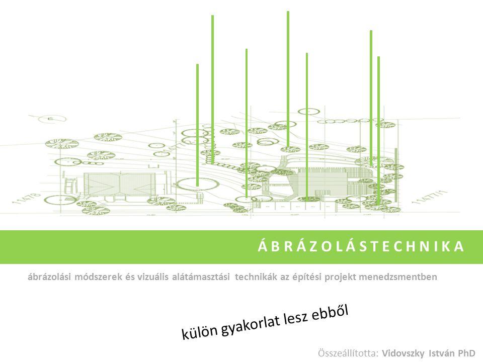 ábrázolási módszerek és vizuális alátámasztási technikák az építési projekt menedzsmentben Á B R Á Z O L Á S T E C H N I K A Összeállította: Vidovszky