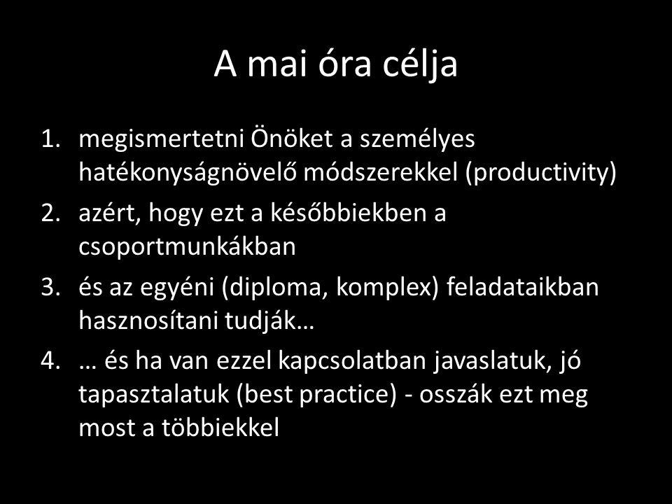 A mai óra célja 1.megismertetni Önöket a személyes hatékonyságnövelő módszerekkel (productivity) 2.azért, hogy ezt a későbbiekben a csoportmunkákban 3