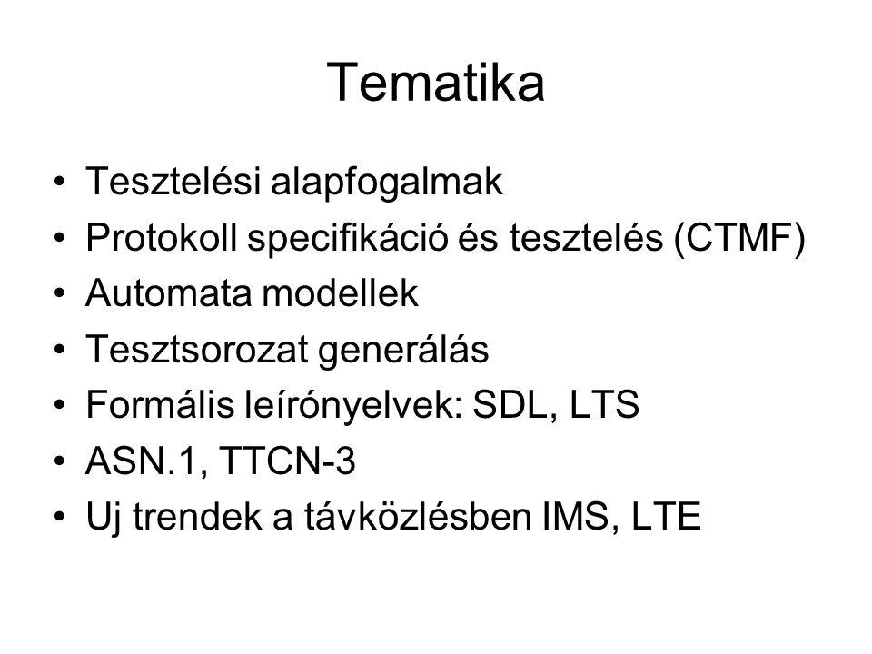 Tematika Tesztelési alapfogalmak Protokoll specifikáció és tesztelés (CTMF) Automata modellek Tesztsorozat generálás Formális leírónyelvek: SDL, LTS ASN.1, TTCN-3 Uj trendek a távközlésben IMS, LTE