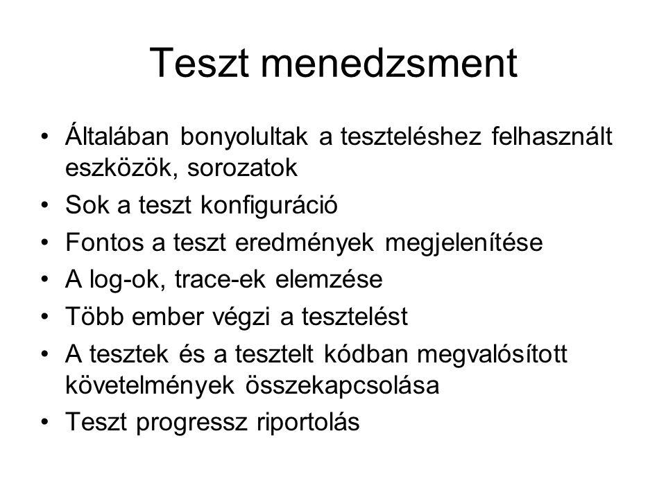 Teszt menedzsment Általában bonyolultak a teszteléshez felhasznált eszközök, sorozatok Sok a teszt konfiguráció Fontos a teszt eredmények megjelenítése A log-ok, trace-ek elemzése Több ember végzi a tesztelést A tesztek és a tesztelt kódban megvalósított követelmények összekapcsolása Teszt progressz riportolás