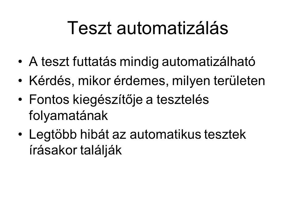 Teszt automatizálás A teszt futtatás mindig automatizálható Kérdés, mikor érdemes, milyen területen Fontos kiegészítője a tesztelés folyamatának Legtöbb hibát az automatikus tesztek írásakor találják