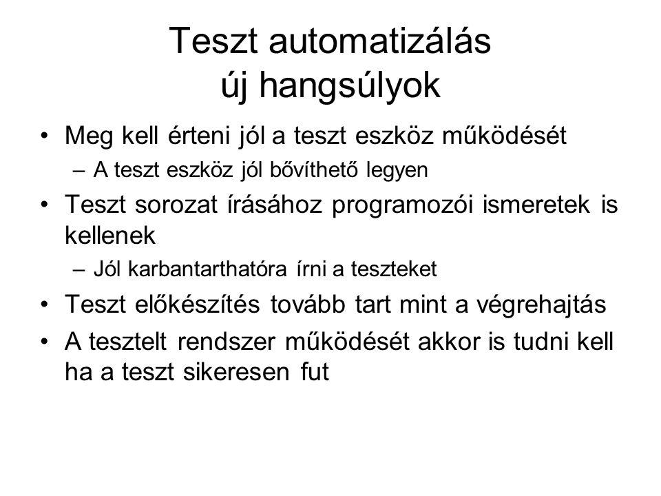 Teszt automatizálás új hangsúlyok Meg kell érteni jól a teszt eszköz működését –A teszt eszköz jól bővíthető legyen Teszt sorozat írásához programozói ismeretek is kellenek –Jól karbantarthatóra írni a teszteket Teszt előkészítés tovább tart mint a végrehajtás A tesztelt rendszer működését akkor is tudni kell ha a teszt sikeresen fut
