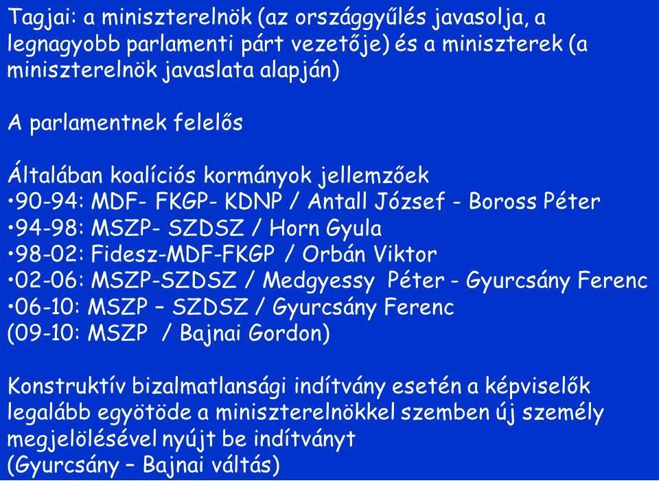 Tagjai: a miniszterelnök (az országgyűlés javasolja, a legnagyobb parlamenti párt vezetője) és a miniszterek (a miniszterelnök javaslata alapján) A parlamentnek felelős Általában koalíciós kormányok jellemzőek 90-94: MDF- FKGP- KDNP / Antall József - Boross Péter 94-98: MSZP- SZDSZ / Horn Gyula 98-02: Fidesz-MDF-FKGP / Orbán Viktor 02-06: MSZP-SZDSZ / Medgyessy Péter - Gyurcsány Ferenc 06-10: MSZP – SZDSZ / Gyurcsány Ferenc (09-10: MSZP / Bajnai Gordon) Konstruktív bizalmatlansági indítvány esetén a képviselők legalább egyötöde a miniszterelnökkel szemben új személy megjelölésével nyújt be indítványt (Gyurcsány – Bajnai váltás)