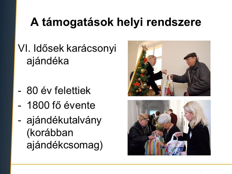 A támogatások helyi rendszere VI. Idősek karácsonyi ajándéka -80 év felettiek -1800 fő évente -ajándékutalvány (korábban ajándékcsomag)