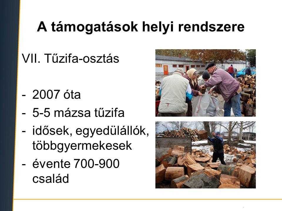 A támogatások helyi rendszere VII. Tűzifa-osztás -2007 óta -5-5 mázsa tűzifa -idősek, egyedülállók, többgyermekesek -évente 700-900 család