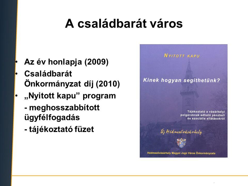 """A családbarát város Az év honlapja (2009) Családbarát Önkormányzat díj (2010) """"Nyitott kapu"""" program - meghosszabbított ügyfélfogadás - tájékoztató fü"""