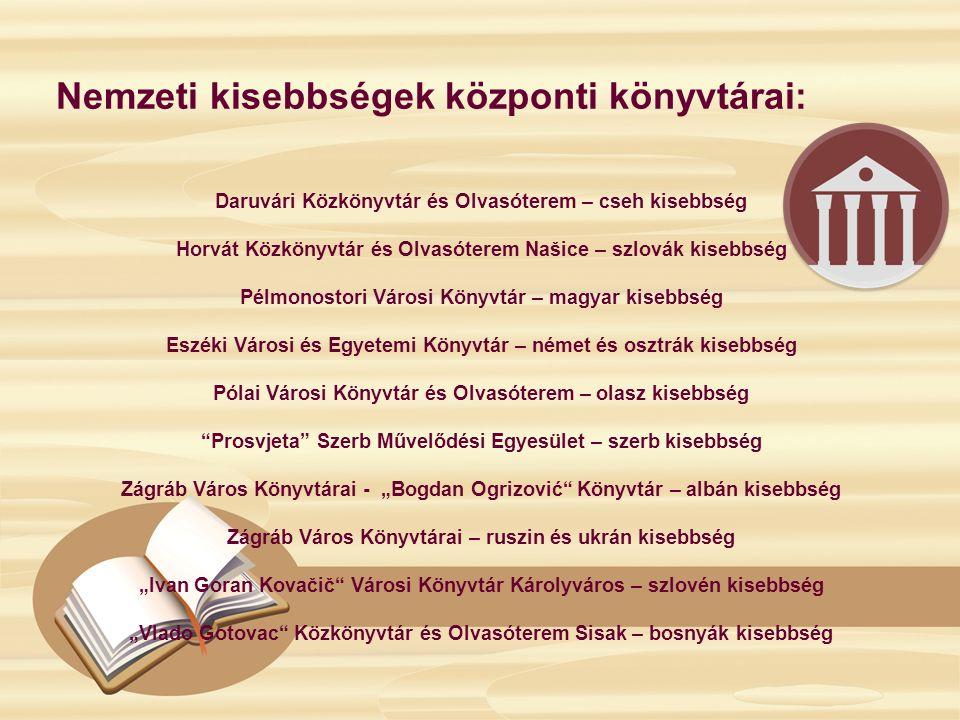 Nemzeti kisebbségek központi könyvtárai: Daruvári Közkönyvtár és Olvasóterem – cseh kisebbség Horvát Közkönyvtár és Olvasóterem Našice – szlovák kiseb