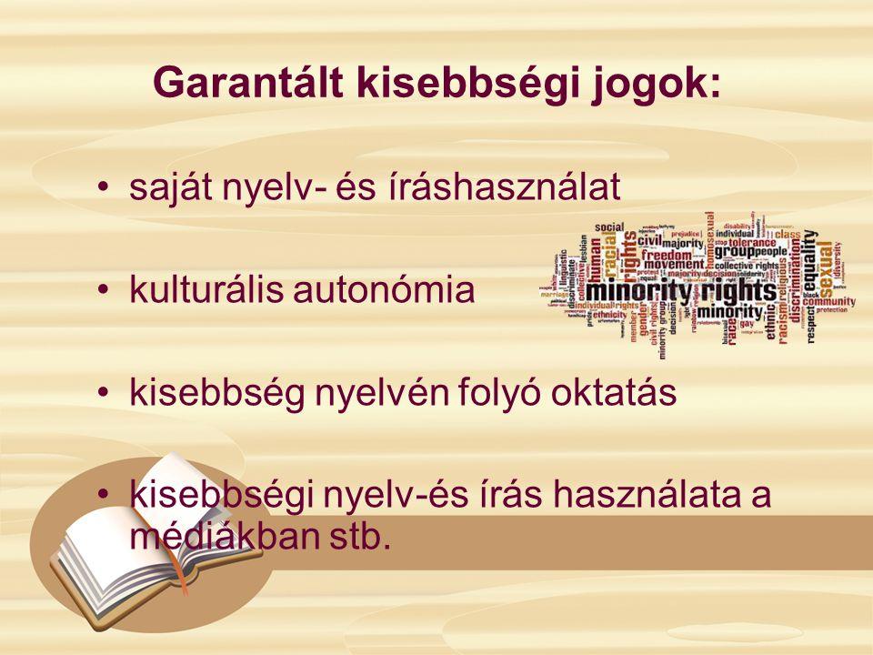 Garantált kisebbségi jogok: saját nyelv- és íráshasználat kulturális autonómia kisebbség nyelvén folyó oktatás kisebbségi nyelv-és írás használata a médiákban stb.