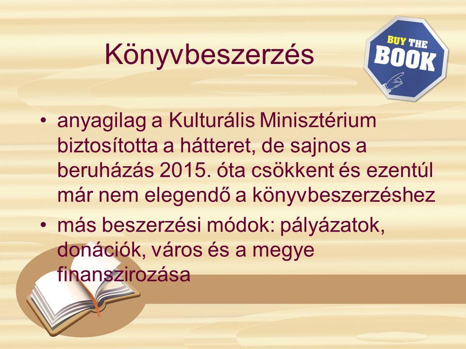 Könyvbeszerzés anyagilag a Kulturális Minisztérium biztosította a hátteret, de sajnos a beruházás 2015.