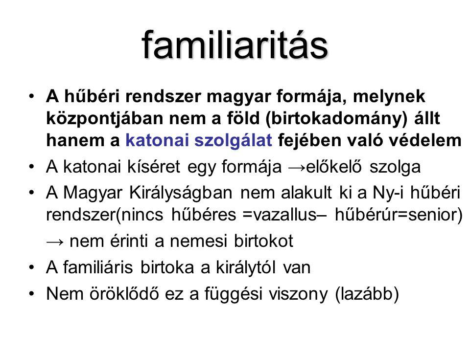 familiaritás A hűbéri rendszer magyar formája, melynek központjában nem a föld (birtokadomány) állt hanem a katonai szolgálat fejében való védelem A k