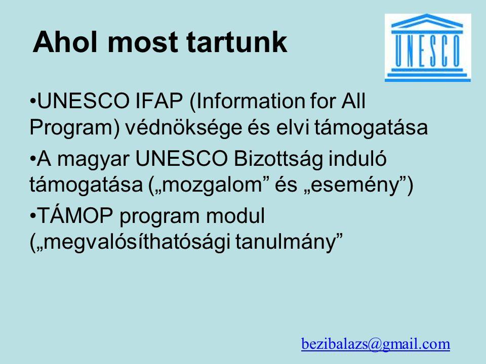 """Ahol most tartunk UNESCO IFAP (Information for All Program) védnöksége és elvi támogatása A magyar UNESCO Bizottság induló támogatása (""""mozgalom és """"esemény ) TÁMOP program modul (""""megvalósíthatósági tanulmány bezibalazs@gmail.com"""