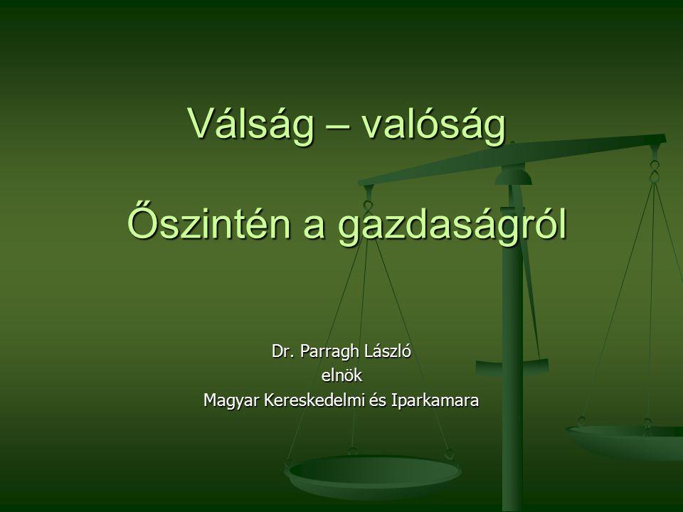 Válság – valóság Őszintén a gazdaságról Dr. Parragh László elnök Magyar Kereskedelmi és Iparkamara