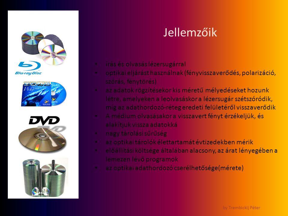 Jellemzőik by Trembickij Péter írás és olvasás lézersugárral optikai eljárást használnak (fényvisszaverődés, polarizáció, szórás, fénytörés) az adatok