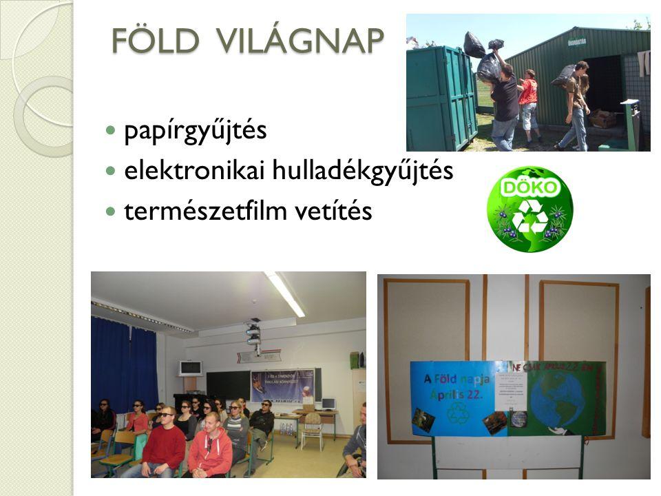FÖLD VILÁGNAP papírgyűjtés elektronikai hulladékgyűjtés természetfilm vetítés