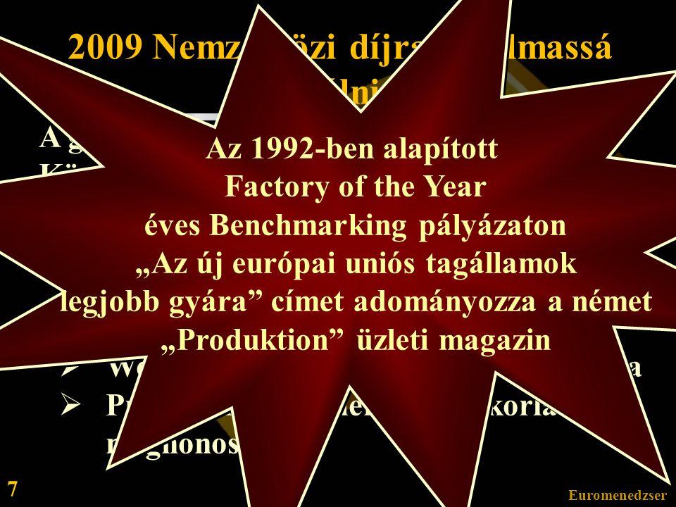 Euromenedzser 7 2009 Nemzetközi díjra alkalmassá válni A gyárvezetés a Regionális Kompetencia Központ szerepben megvalósított hatékonyság, rugalmasság és gyors, adekvát reagálási képesség kialakítását valósítja meg.