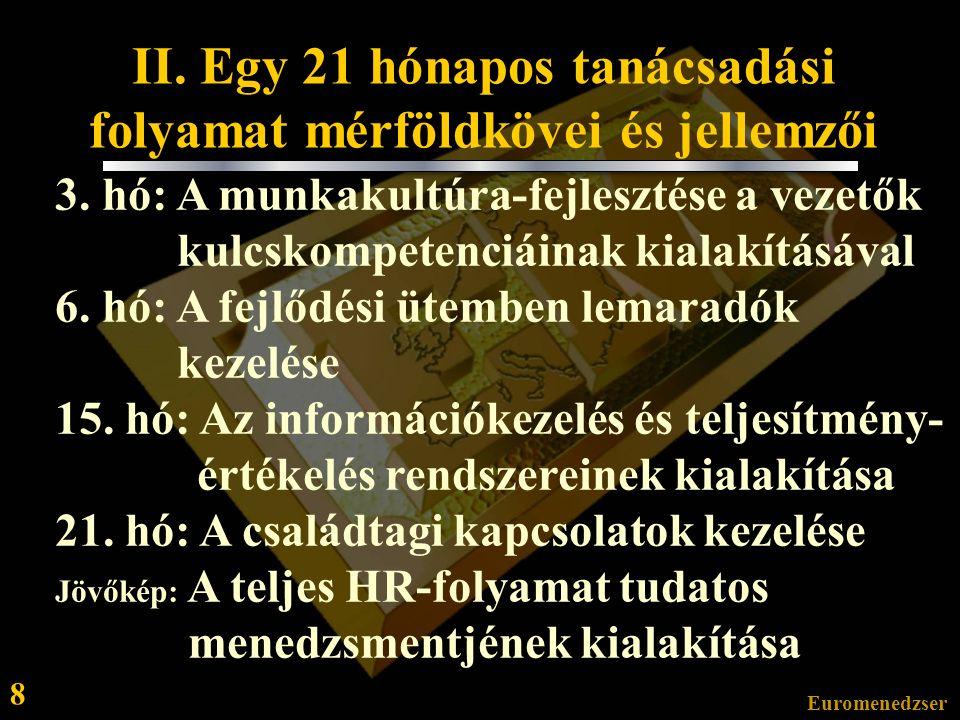 Euromenedzser 8 II.Egy 21 hónapos tanácsadási folyamat mérföldkövei és jellemzői 3.