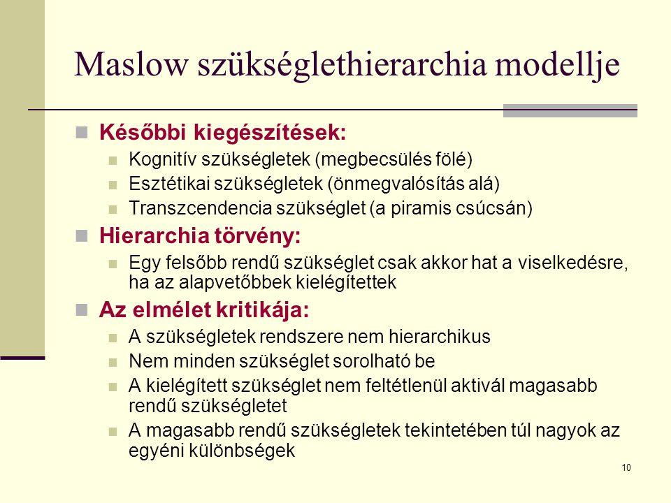 10 Maslow szükséglethierarchia modellje Későbbi kiegészítések: Kognitív szükségletek (megbecsülés fölé) Esztétikai szükségletek (önmegvalósítás alá) T