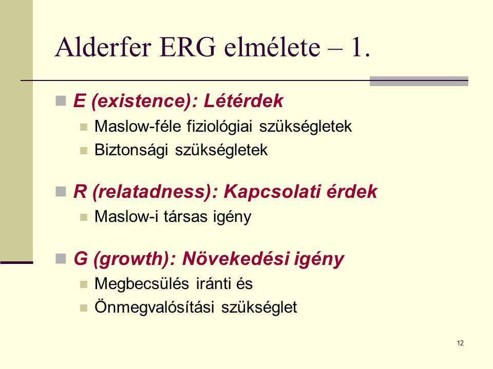 12 Alderfer ERG elmélete – 1. E (existence): Létérdek Maslow-féle fiziológiai szükségletek Biztonsági szükségletek R (relatadness): Kapcsolati érdek M