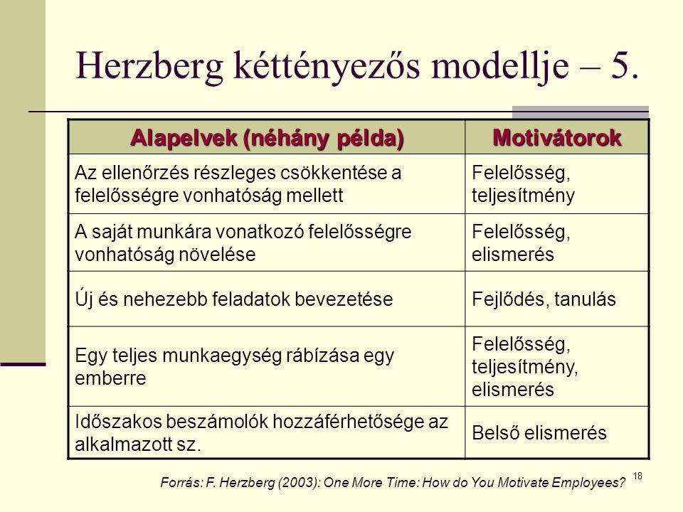 18 Herzberg kéttényezős modellje – 5. Alapelvek (néhány példa) Motivátorok Az ellenőrzés részleges csökkentése a felelősségre vonhatóság mellett Felel