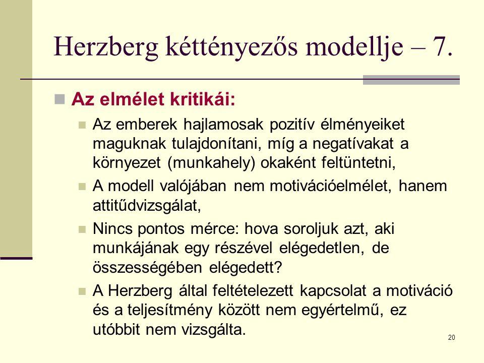 20 Herzberg kéttényezős modellje – 7. Az elmélet kritikái: Az emberek hajlamosak pozitív élményeiket maguknak tulajdonítani, míg a negatívakat a körny