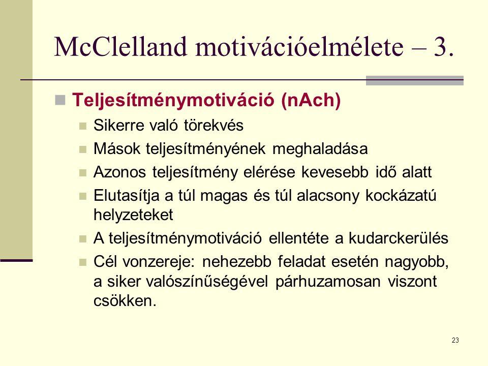 23 McClelland motivációelmélete – 3. Teljesítménymotiváció (nAch) Sikerre való törekvés Mások teljesítményének meghaladása Azonos teljesítmény elérése