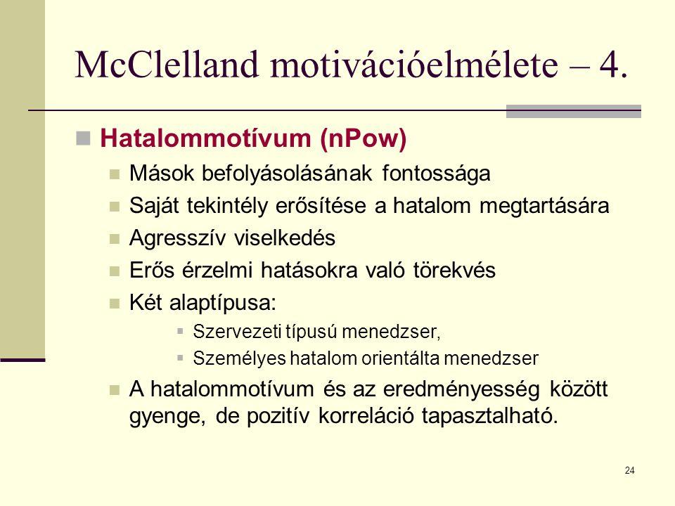 24 McClelland motivációelmélete – 4. Hatalommotívum (nPow) Mások befolyásolásának fontossága Saját tekintély erősítése a hatalom megtartására Agresszí