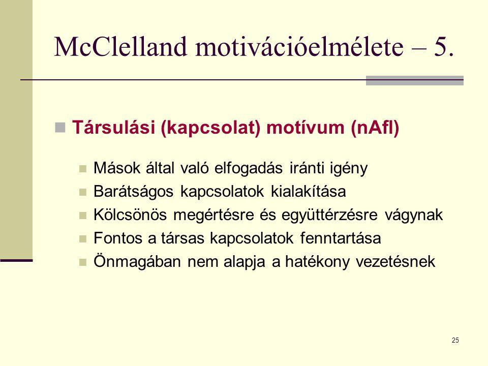25 McClelland motivációelmélete – 5. Társulási (kapcsolat) motívum (nAfl) Mások által való elfogadás iránti igény Barátságos kapcsolatok kialakítása K