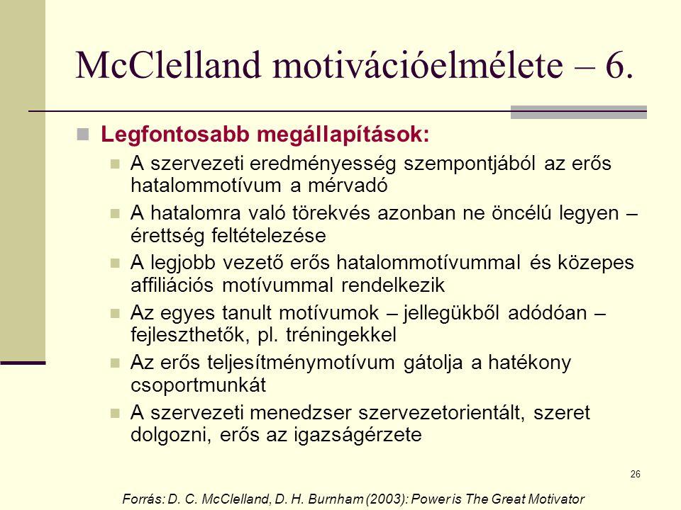 26 McClelland motivációelmélete – 6. Legfontosabb megállapítások: A szervezeti eredményesség szempontjából az erős hatalommotívum a mérvadó A hatalomr