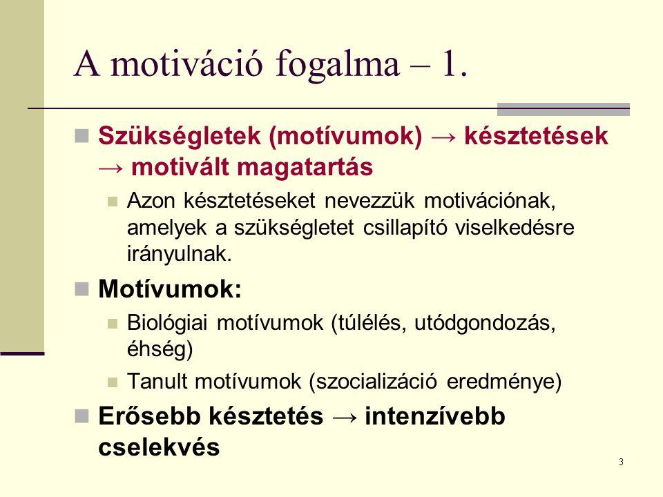 3 A motiváció fogalma – 1. Szükségletek (motívumok) → késztetések → motivált magatartás Azon késztetéseket nevezzük motivációnak, amelyek a szükséglet
