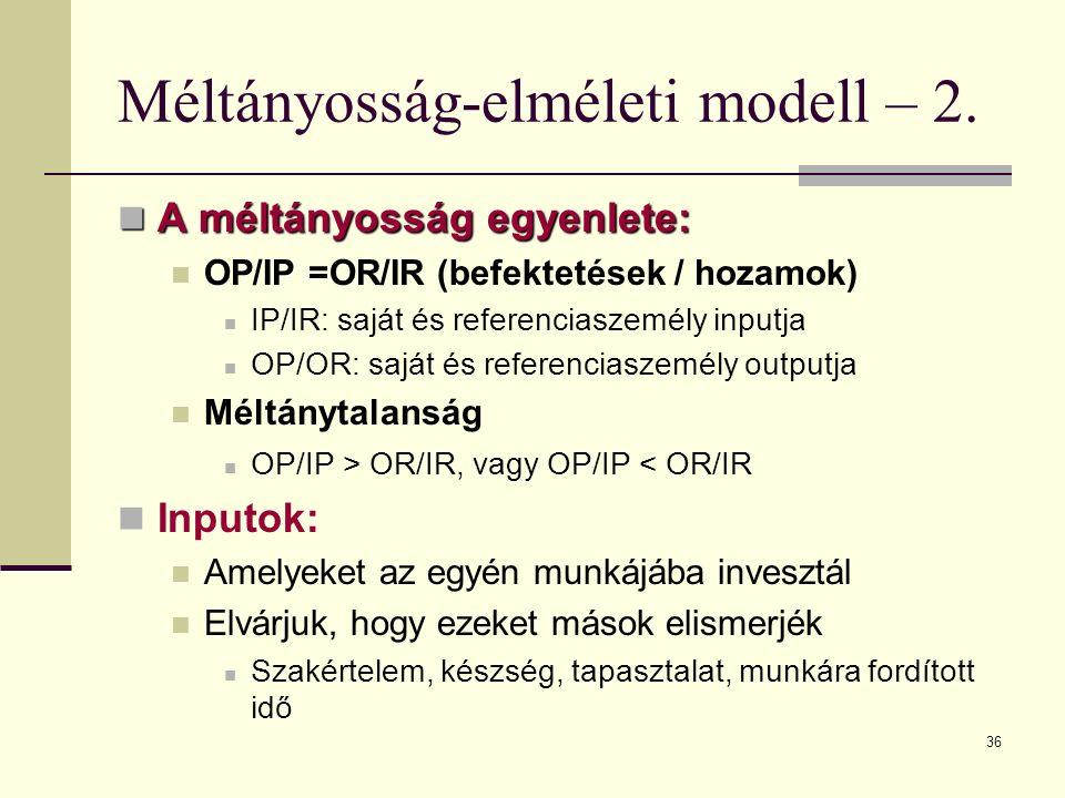 36 Méltányosság-elméleti modell – 2. A méltányosság egyenlete: A méltányosság egyenlete: OP/IP =OR/IR (befektetések / hozamok) IP/IR: saját és referen