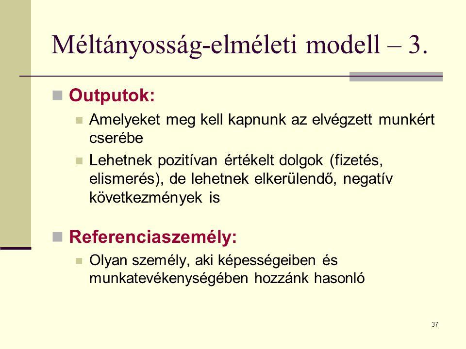 37 Méltányosság-elméleti modell – 3. Outputok: Amelyeket meg kell kapnunk az elvégzett munkért cserébe Lehetnek pozitívan értékelt dolgok (fizetés, el