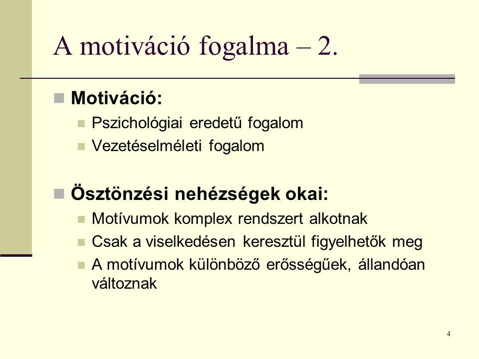 4 A motiváció fogalma – 2. Motiváció: Pszichológiai eredetű fogalom Vezetéselméleti fogalom Ösztönzési nehézségek okai: Motívumok komplex rendszert al