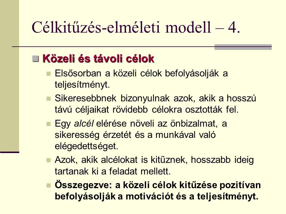 Célkitűzés-elméleti modell – 4. Közeli és távoli célok Közeli és távoli célok Elsősorban a közeli célok befolyásolják a teljesítményt. Sikeresebbnek b