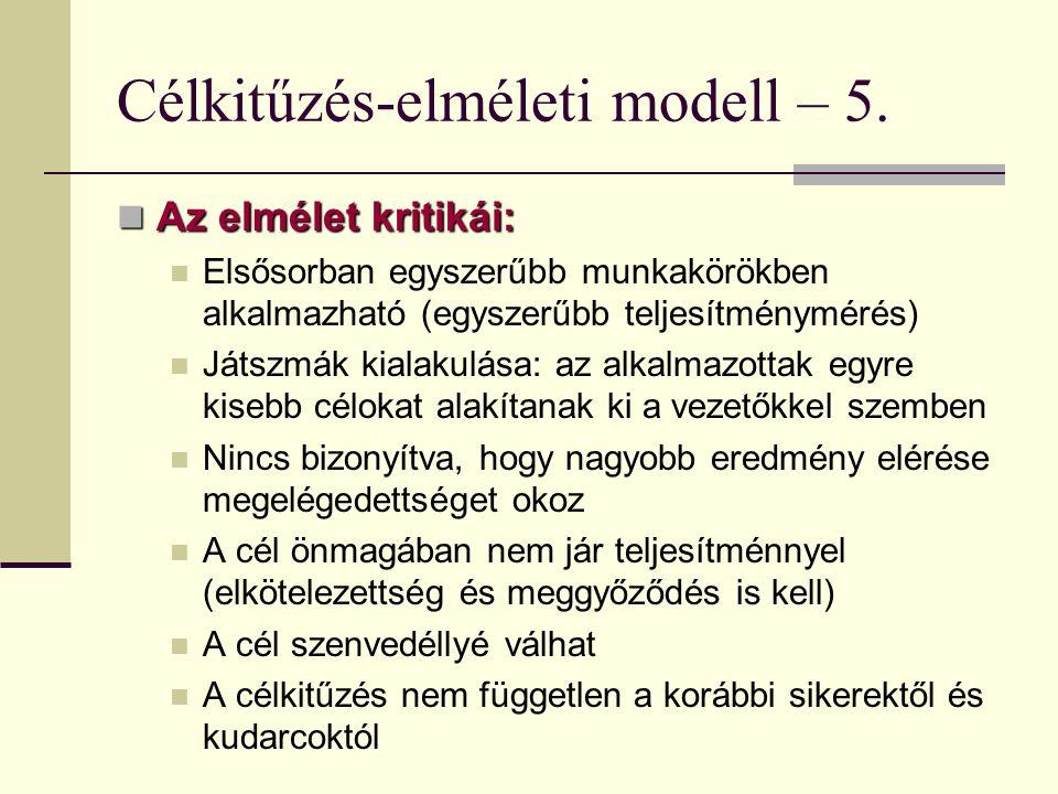 Célkitűzés-elméleti modell – 5. Az elmélet kritikái: Az elmélet kritikái: Elsősorban egyszerűbb munkakörökben alkalmazható (egyszerűbb teljesítménymér