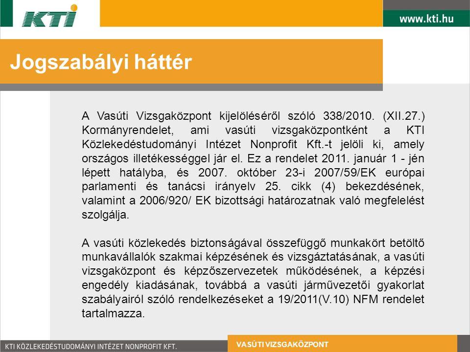 VASÚTI VIZSGAKÖZPONT Szervezeti felépítés Vasúti Vizsgaközpont Vizsga- és képzésfejlesztési egység Vizsgabiztosi, eljárási és ellenőrzési egység Vizsgaszervezési egység KTI