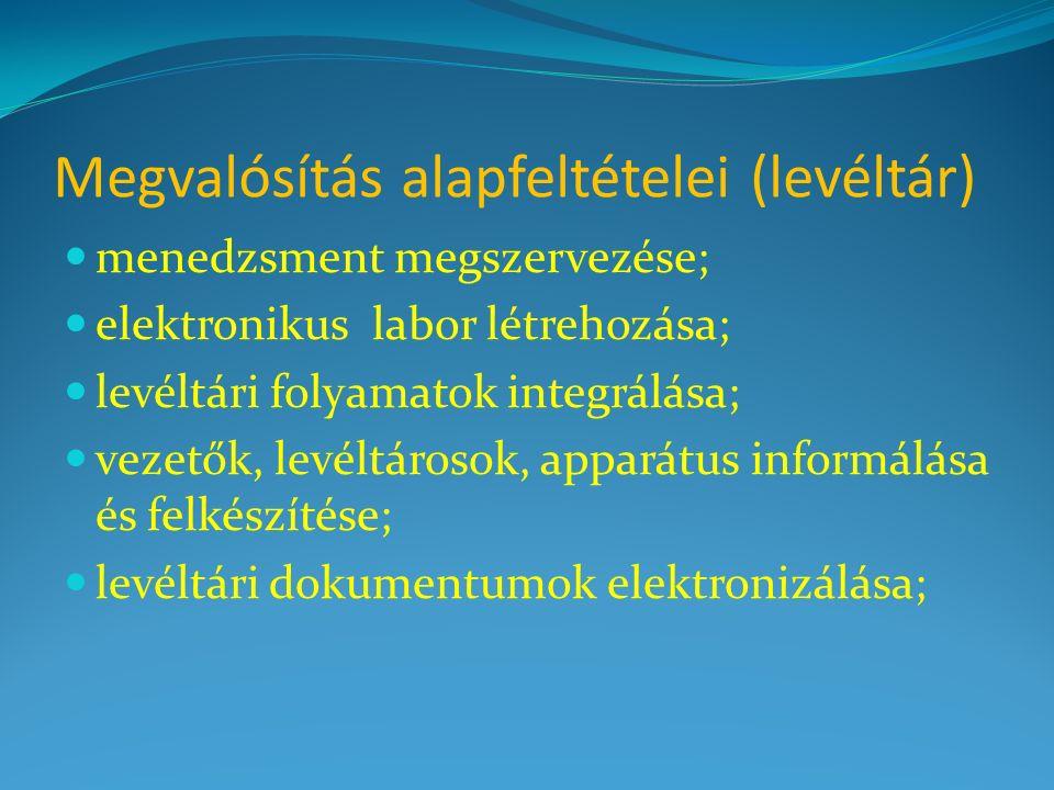 Megvalósítás alapfeltételei (levéltár) menedzsment megszervezése; elektronikus labor létrehozása; levéltári folyamatok integrálása; vezetők, levéltáro