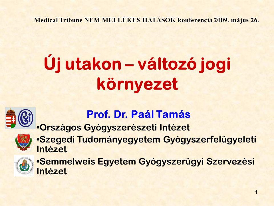 1 Új utakon – változó jogi környezet Prof. Dr.