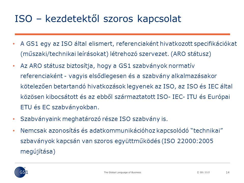 © GS1 2015 ISO – kezdetektől szoros kapcsolat A GS1 egy az ISO által elismert, referenciaként hivatkozott specifikációkat (műszaki/technikai leírásokat) létrehozó szervezet.