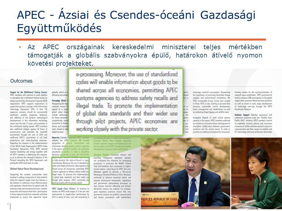 © GS1 2015 APEC - Ázsiai és Csendes-óceáni Gazdasági Együttműködés 17 Az APEC országainak kereskedelmi miniszterei teljes mértékben támogatják a globális szabványokra épülő, határokon átívelő nyomon követési projekteket.