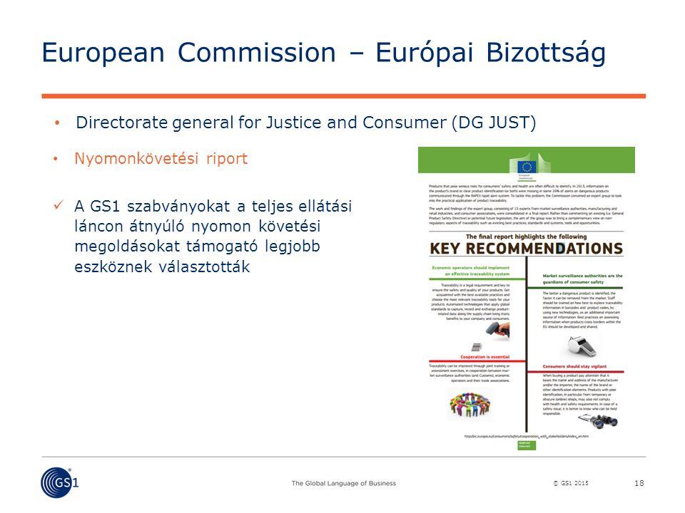© GS1 2015 European Commission – Európai Bizottság 18 Directorate general for Justice and Consumer (DG JUST) Nyomonkövetési riport A GS1 szabványokat a teljes ellátási láncon átnyúló nyomon követési megoldásokat támogató legjobb eszköznek választották