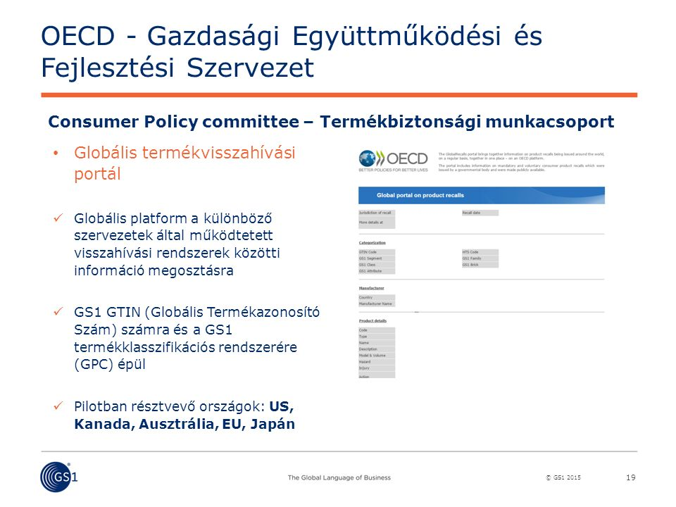 © GS1 2015 Consumer Policy committee – Termékbiztonsági munkacsoport Globális termékvisszahívási portál Globális platform a különböző szervezetek által működtetett visszahívási rendszerek közötti információ megosztásra GS1 GTIN (Globális Termékazonosító Szám) számra és a GS1 termékklasszifikációs rendszerére (GPC) épül Pilotban résztvevő országok: US, Kanada, Ausztrália, EU, Japán OECD - Gazdasági Együttműködési és Fejlesztési Szervezet 19