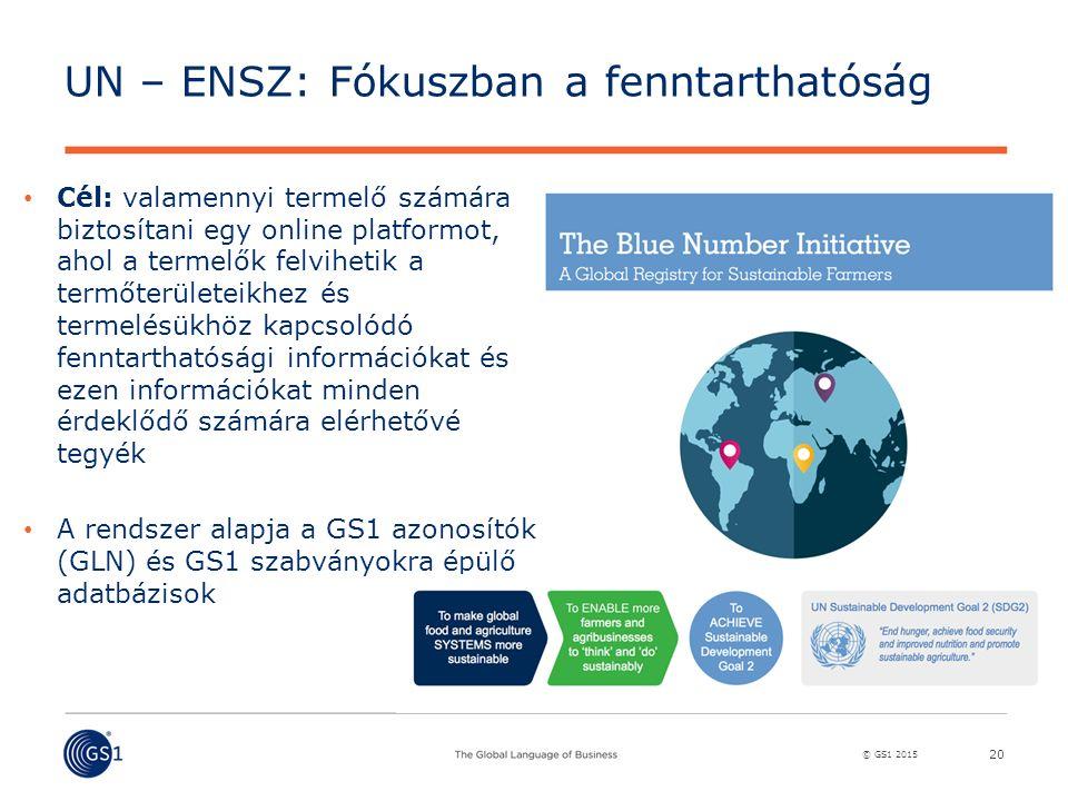 © GS1 2015 UN – ENSZ: Fókuszban a fenntarthatóság 20 Cél: valamennyi termelő számára biztosítani egy online platformot, ahol a termelők felvihetik a termőterületeikhez és termelésükhöz kapcsolódó fenntarthatósági információkat és ezen információkat minden érdeklődő számára elérhetővé tegyék A rendszer alapja a GS1 azonosítók (GLN) és GS1 szabványokra épülő adatbázisok