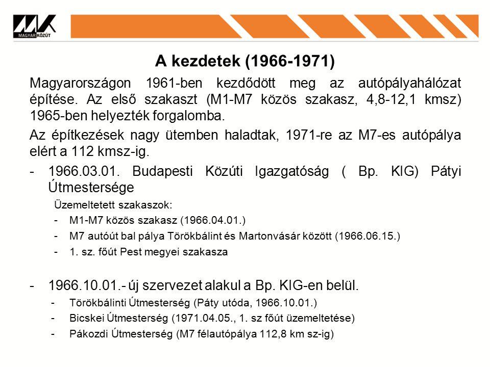 A kezdetek (1966-1971) Magyarországon 1961-ben kezdődött meg az autópályahálózat építése.
